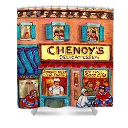 Chenoys Delicatessen Montreal Landmarks Painting  Carole Spandau Street Scene Specialist Artist Shower Curtain by Carole Spandau