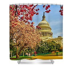 Cherry Blossoms At The Capitol Shower Curtain by Nick Zelinsky