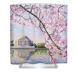 Jefferson Memorial Cherry Blossoms Shower Curtain by Patty Kay Hall