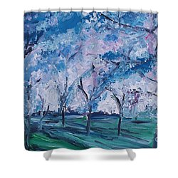 Cherry Trees Impressionism Shower Curtain by Eric  Schiabor