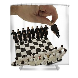 Chess Being Played With Little People Shower Curtain by Darren Greenwood