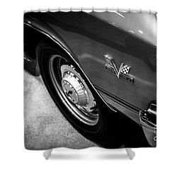 Chevrolet Chevelle 396 Black And White Picture Shower Curtain by Paul Velgos