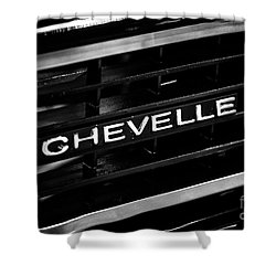 Chevy Chevelle Grill Emblem Black And White Picture Shower Curtain by Paul Velgos