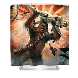 Chewbacca - Star Wars The Card Game Shower Curtain by Ryan Barger