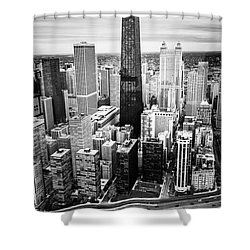 Chicago Aerial With Hancock Building In Black And White Shower Curtain by Paul Velgos