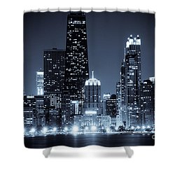 Chicago At Night With Hancock Building Shower Curtain by Paul Velgos
