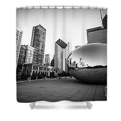 Chicago Bean And Chicago Skyline In Black And White Shower Curtain by Paul Velgos