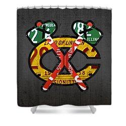 Chicago Blackhawks Hockey Team Retro Logo Vintage Recycled Illinois License Plate Art Shower Curtain by Design Turnpike