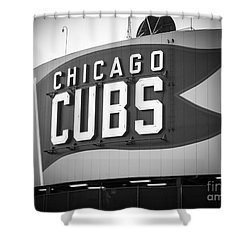 Chicago Cubs Wrigley Field Sign Black And White Picture Shower Curtain by Paul Velgos