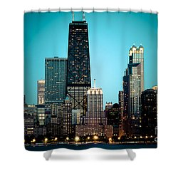 Chicago Downtown At Night With Hancock Building Shower Curtain by Paul Velgos