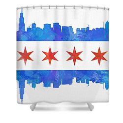 Chicago Flag Watercolor Shower Curtain by Mike Maher