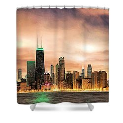 Chicago Gotham City Skyline Panorama Shower Curtain by Christopher Arndt