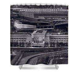 Chicago Icons Bw Shower Curtain by Steve Gadomski