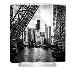 Chicago Kinzie Street Bridge Black And White Picture Shower Curtain by Paul Velgos