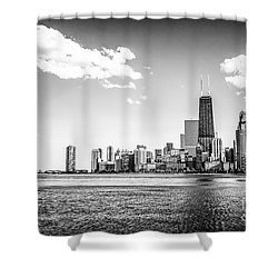 Chicago Lakefront Skyline Black And White Picture Shower Curtain by Paul Velgos