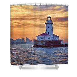Chicago Lighthouse Impression Shower Curtain by John Hansen