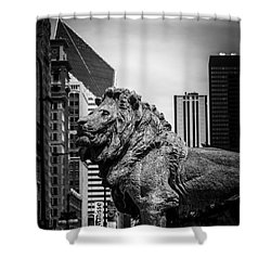 Chicago Lion Statues In Black And White Shower Curtain by Paul Velgos