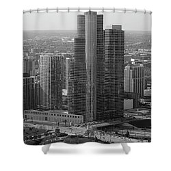 Chicago Modern Skyscraper Black And White Shower Curtain by Thomas Woolworth