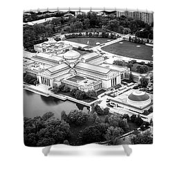 Chicago Museum Of Science And Industry Aerial View Shower Curtain by Paul Velgos