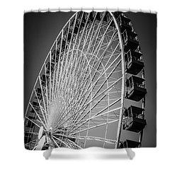 Chicago Navy Pier Ferris Wheel In Black And White Shower Curtain by Paul Velgos