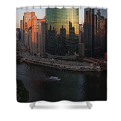 Chicago On The River Shower Curtain by Steve Gadomski