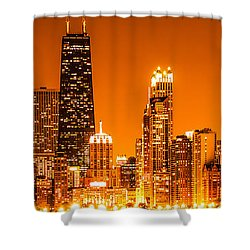 Chicago Panorama Skyline At Night Orange Tone Shower Curtain by Paul Velgos