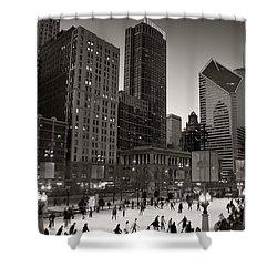 Chicago Park Skate Bw Shower Curtain by Steve Gadomski