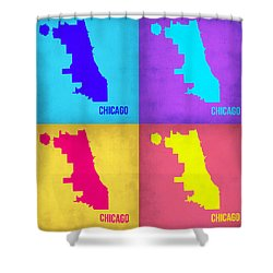 Chicago Pop Art Map 1 Shower Curtain by Naxart Studio