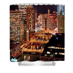 Chicago River At Night Shower Curtain by Thomas Firak