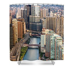 Chicago River Sunrise Shower Curtain by Steve Gadomski