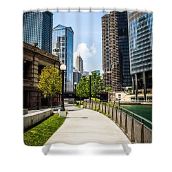 Chicago Riverwalk Picture Shower Curtain by Paul Velgos