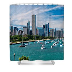 Chicago Skyline Daytime Panoramic Shower Curtain by Adam Romanowicz