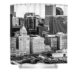 Chicago Skyline Aerial Panorama Photo Shower Curtain by Paul Velgos