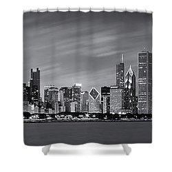 Chicago Skyline At Night Black And White Panoramic Shower Curtain by Adam Romanowicz