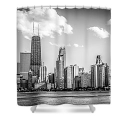 Chicago Skyline Picture In Black And White Shower Curtain by Paul Velgos
