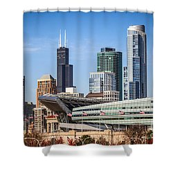 Chicago Skyline With Soldier Field And Sears Tower  Shower Curtain by Paul Velgos