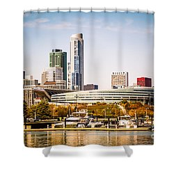 Chicago Skyline With Soldier Field Shower Curtain by Paul Velgos