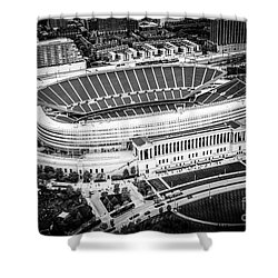 Chicago Soldier Field Aerial Picture In Black And White Shower Curtain by Paul Velgos
