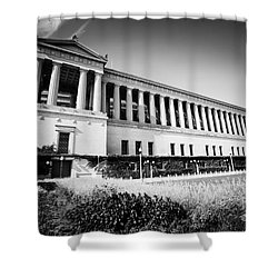 Chicago Solider Field Black And White Picture Shower Curtain by Paul Velgos