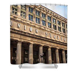 Chicago Union Station Building And Sign Shower Curtain by Paul Velgos