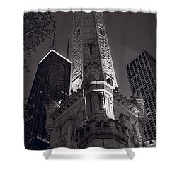 Chicago Water Tower Panorama B W Shower Curtain by Steve Gadomski