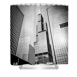 Chicago Willis-sears Tower In Black And White Shower Curtain by Paul Velgos