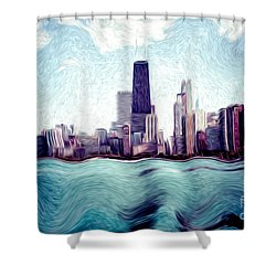 Chicago Windy City Digital Art Painting Shower Curtain by Paul Velgos