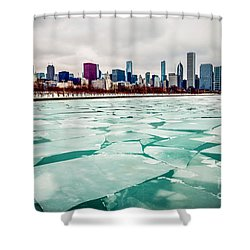 Chicago Winter Skyline Shower Curtain by Paul Velgos