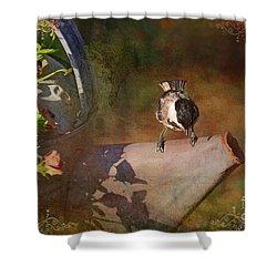 Chickadee Flower Pot Shower Curtain by Debbie Portwood