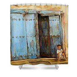 Child Sitting In Old Zanzibar Doorway Shower Curtain by Sher Nasser