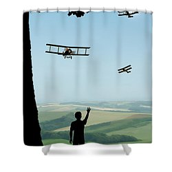 Childhood Dreams The Flypast Shower Curtain by John Edwards
