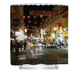 China Town At Night Shower Curtain by Linda Woods