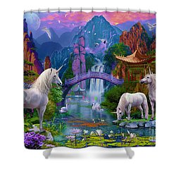 Chinese Unicorns Shower Curtain by Jan Patrik Krasny