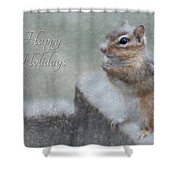 Chippy Christmas Card Shower Curtain by Lori Deiter